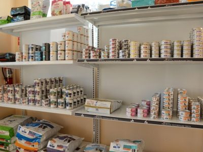 A scientific diet pet food display in the office